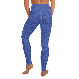Texas shapes on blue yoga pants, worn by model from torso down, rear view