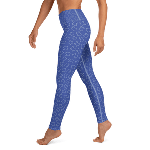 Texas shapes on blue yoga pants, worn by model from torso down, left side
