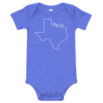 texas shape with 'tiny tex' written above it on a onesie