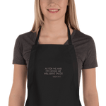 'AS FOR ME AND MY HOUSE WE WILL SERVE TACOS' embroidered on black apron