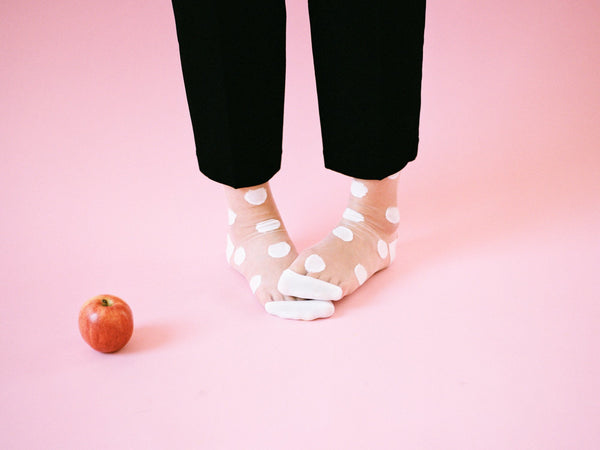 Large Polka Dot Sheer Crew Socks