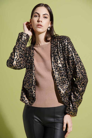 Giacca corta in paillettes animalier