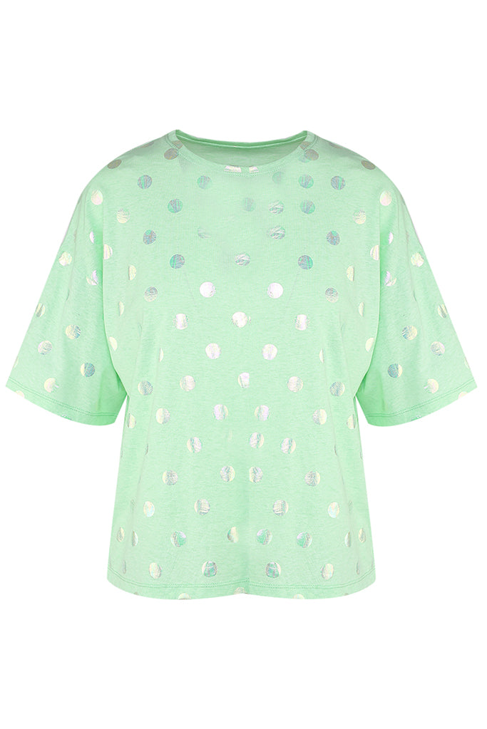 T-shirt oversize con stampa a pois su color menta - Ika