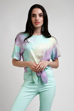 T-shirt cropped con nodo in jersey tye and dye - Indianapolis