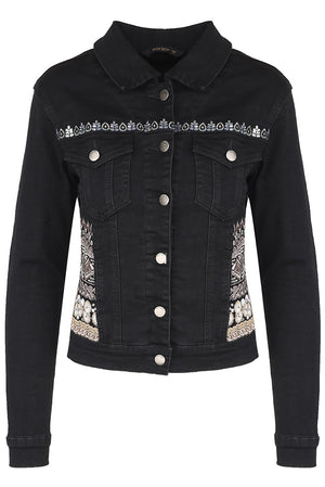 Giubbino in denim nero con dettagli embroidery metallici - Georgetown