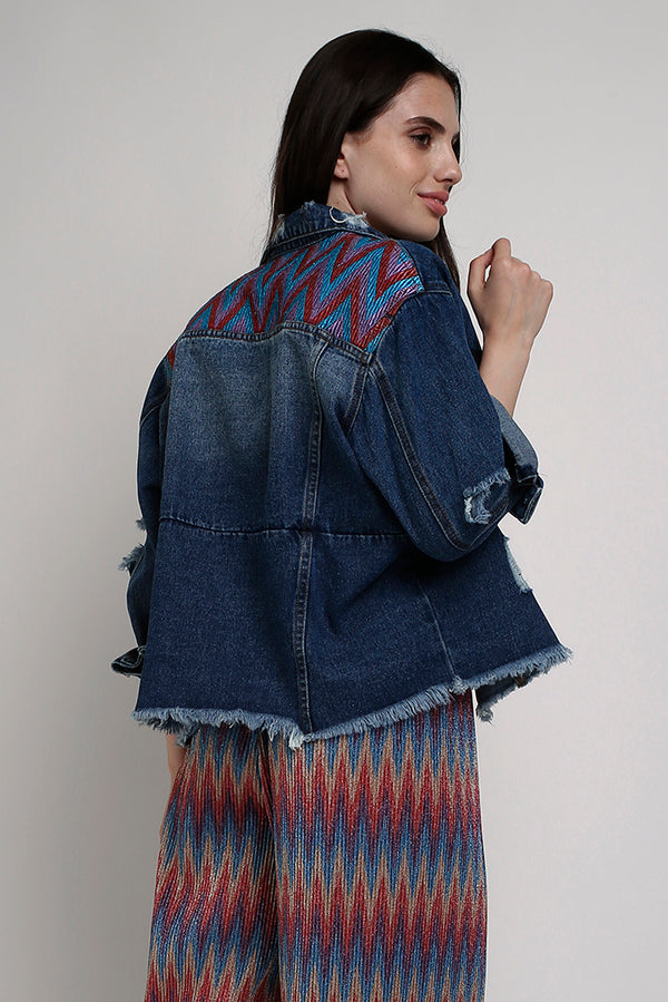 Giacca oversize in denim con embroidery colorate - Taiwan