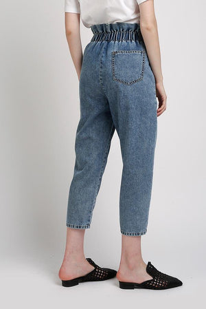 Pantalone  denim loose fit  vita alta arricciata