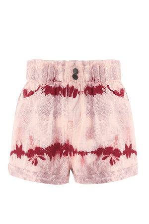 Shorts in denim tye and dye a vita alta arricciata - Zamosc