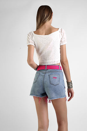 Shorts in denim con rotture e strappi in fucsia - Ozieri