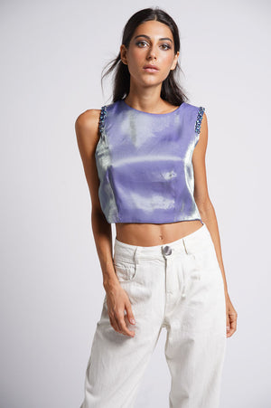 Crop top in raso