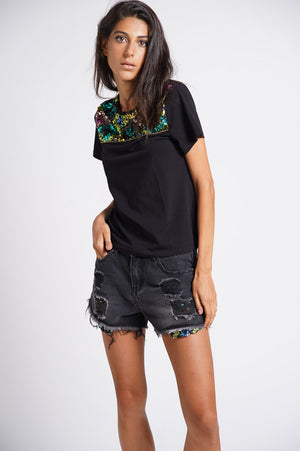 Shorts con tasche in paillettes