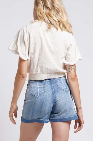 Shorts in denim ricamati a mano