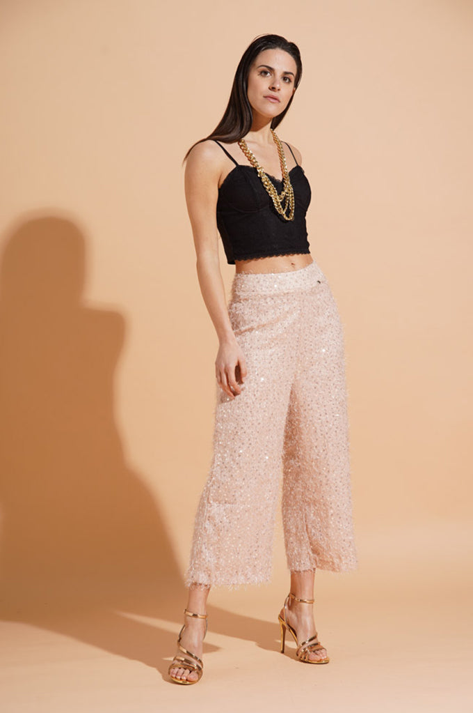 Pantalone crop in paillettes