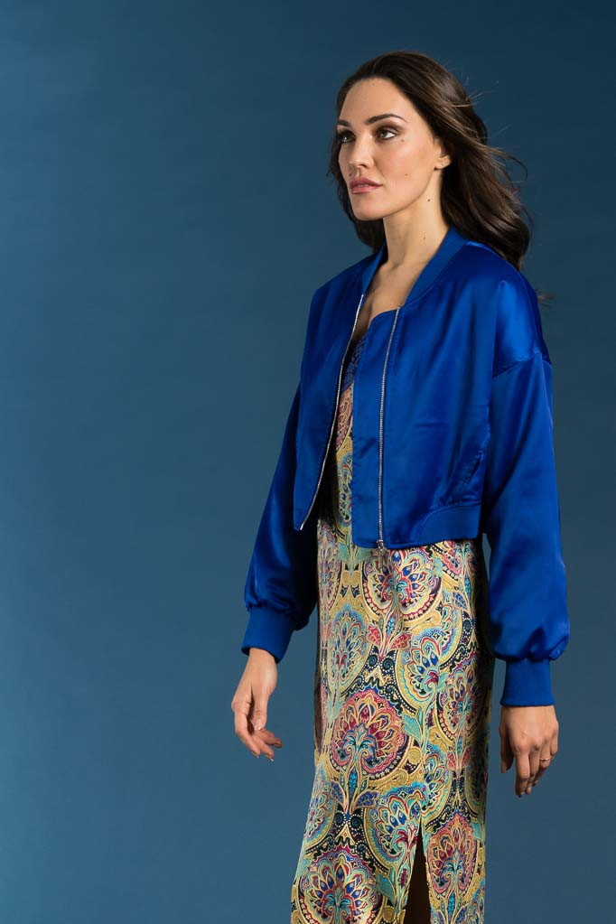 Bomber in raso blue