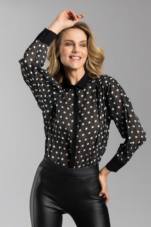 Camicia in voile a pois