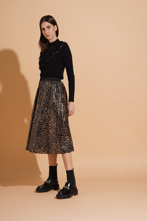 Gonna in paillettes con stampa animalier