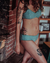 Ethical swimwear low rise, pebble sage