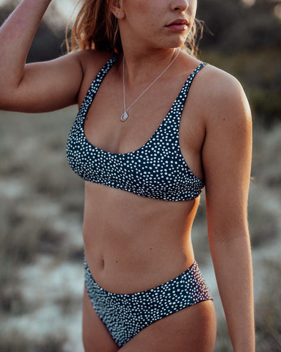 sustainable eco swimwear crop, pebble midnight