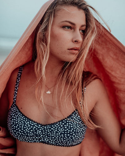 sustainable eco swimwear bralette, pebble midnight