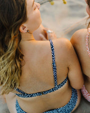 Ethical swimwear crop, pebble midnight