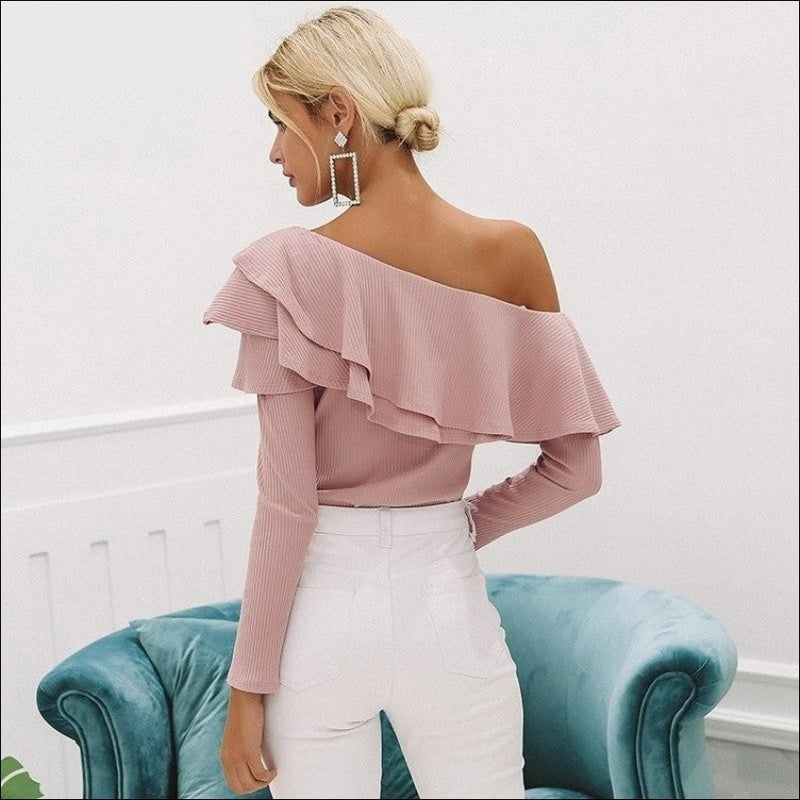 ONE SHOULDER SEXY RUFFLE BLOUSE - BLITZ & GLITZ