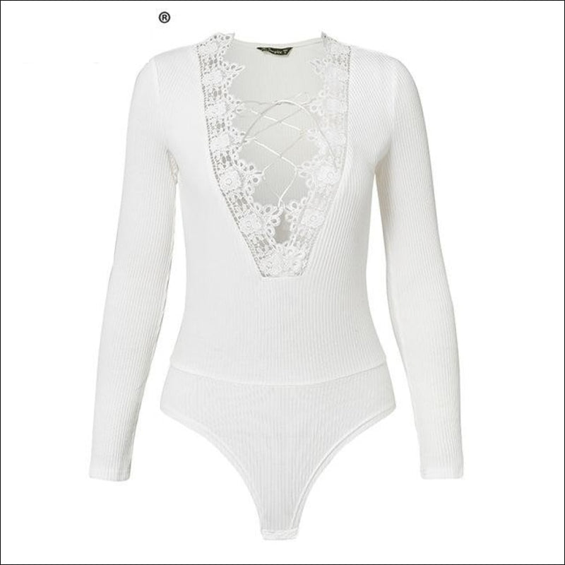 ZIRYAB HOLLOW OUT LONG SLEEVE BODYSUIT - BLITZ & GLITZ