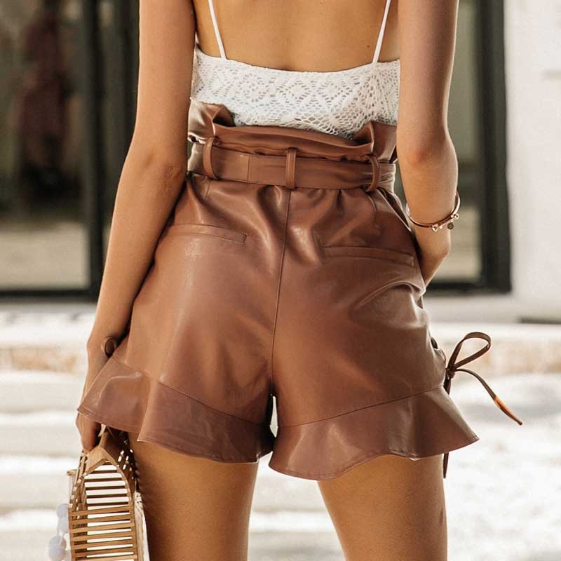 SUNSET BOULEVARD HIGH WAIST LEATHER SHORTS - BLITZ & GLITZ