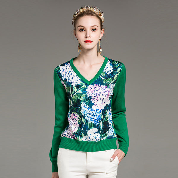 LAURA SILKY FOREST V-NECK SWEATER - BLITZ & GLITZ