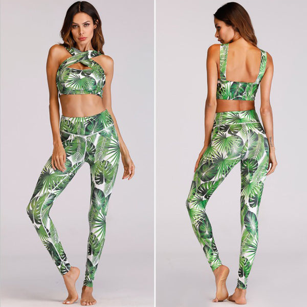 BANGKOK FLORAL 2 PIECE GYM PANTS AND BRA - BLITZ & GLITZ