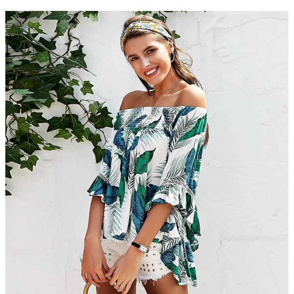 MELASSANDRA OFF SHOULDER TROPICAL BLOUSE - BLITZ & GLITZ