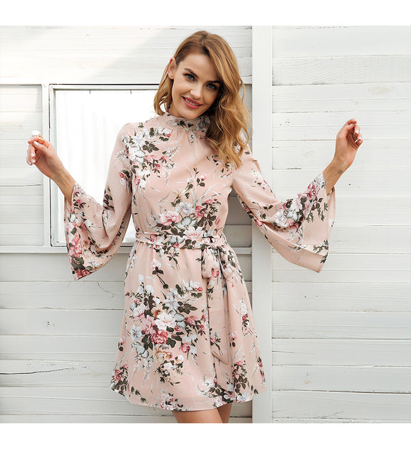 CHIARA SAN REMO LACE UP FLORAL DRESS - BLITZ & GLITZ