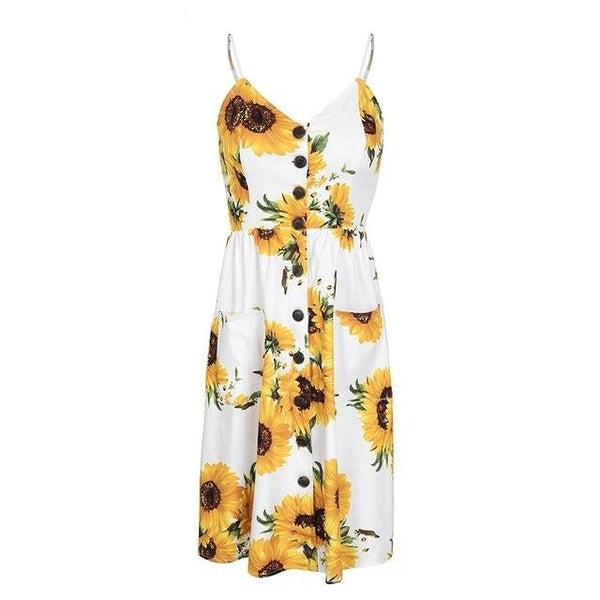 KIZKALESI SUNFLOWER MIDI DRESS - BLITZ & GLITZ