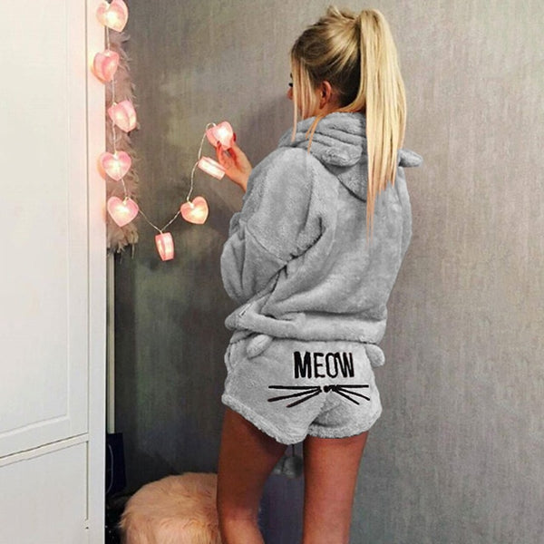 MEOZ COZY IN WINTER WARM PAJAMAS SET SHORTS SWEATER - BLITZ & GLITZ