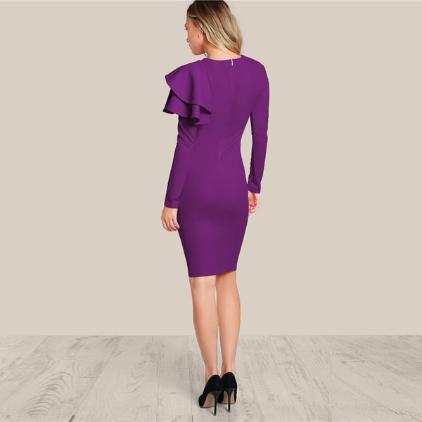 CAIRO ONE SIDE RUFFLE DRESS SLIM ELEGANT - BLITZ & GLITZ