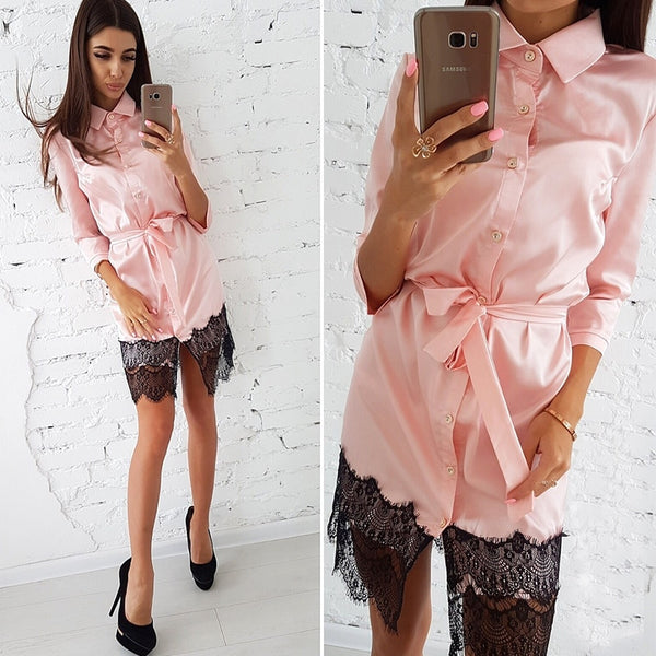 NOTTINGHILL SEXY LACE DRESS LONG SLEEVE COLLAR AUTUMN 2018 - BLITZ & GLITZ