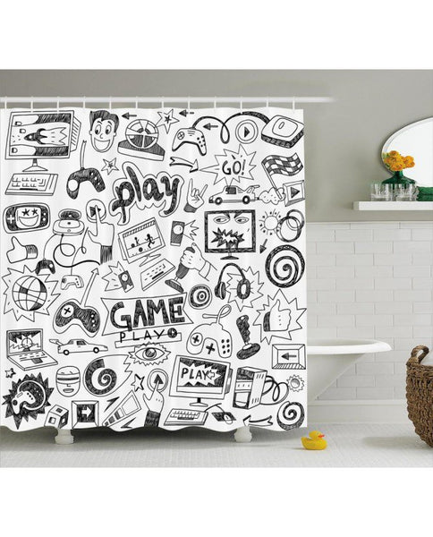 Sketchy Gamer Shower Curtain - Little Geeklings