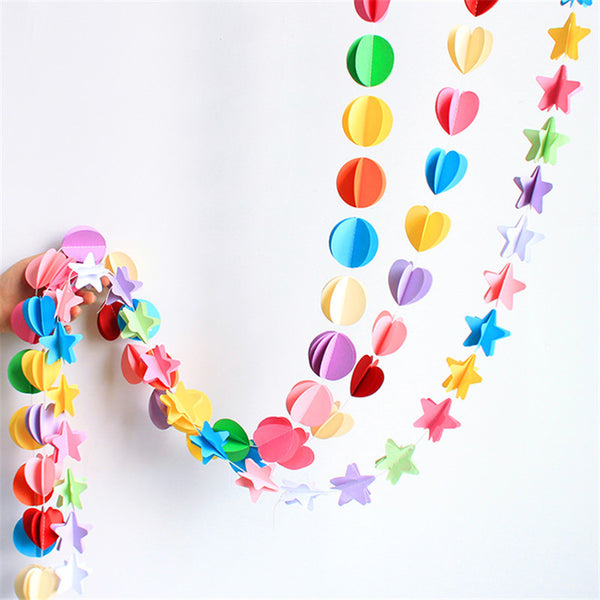 Simple Shapes Colored Paper Garland - Little Geeklings