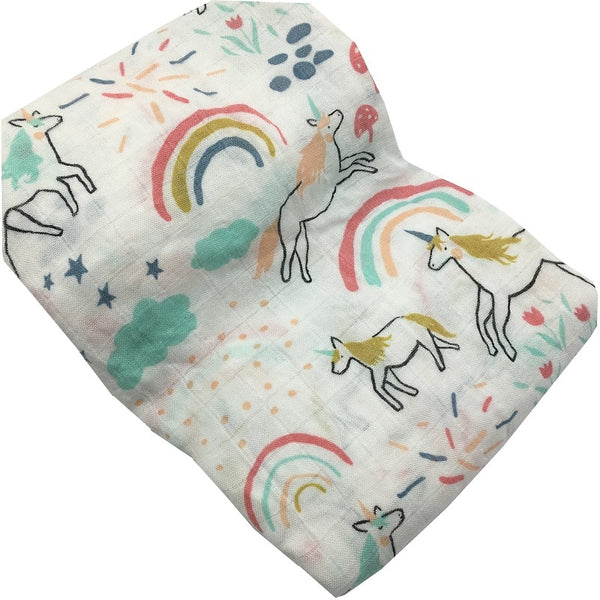Unicorn & Rainbows Muslin Blanket