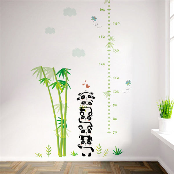 Bamboo & Panda Stack Height Chart Wall Stickers - Little Geeklings