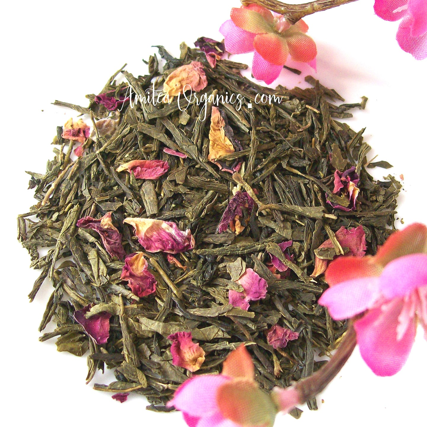 SHINJUKU SPRING Cherry Blossom Tea, Small Batch Organic Green Tea | 8 oz BULK | Wedding Tea | Bridal Shower Tea | Fundraiser Tea Party | Wedding Favor Tea
