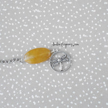Load image into Gallery viewer, Beaded Tea Infuser with Dragonfly Charm | Yellow Agate Stone