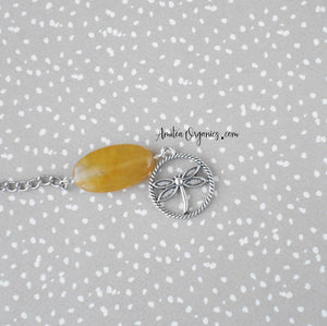 Beaded Tea Infuser with Dragonfly Charm | Yellow Agate Stone