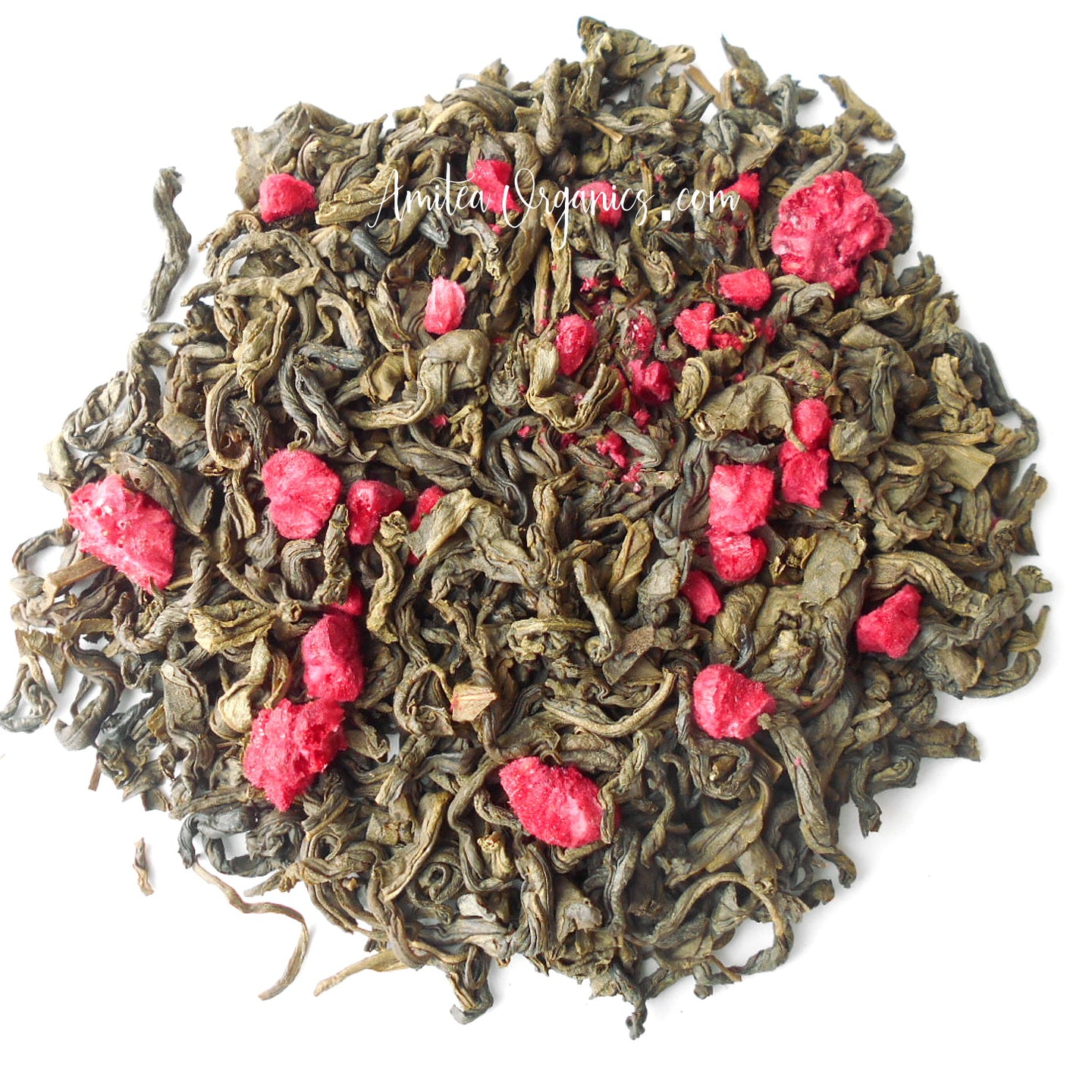 RASPBERRY DREAM organic handcrafted Green Tea | Amitea Organics
