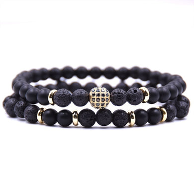 Beaded Stone Fashion Bracelet - Black and Gold