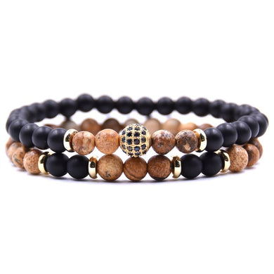 Beaded Stone Fashion Bracelet - Black, Brown and Gold