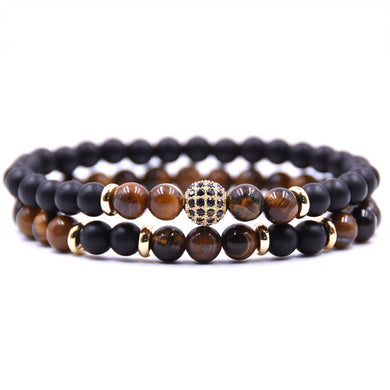 Beaded Stone Fashion Bracelet - Black, Amber and Gold