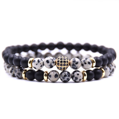 Beaded Stone Fashion Bracelet - Black, Marble, Gold