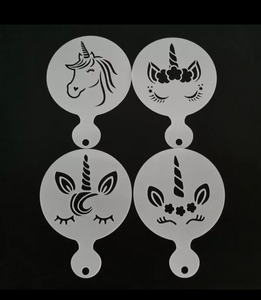Unicorn coffee/biscuit stencil. Set of 4.