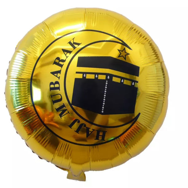 Hajj Mubarak gold foil balloon. Set of 2.