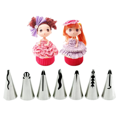 Russian Icing Piping Tips to create lovely ruffles/frills. Set of 7.